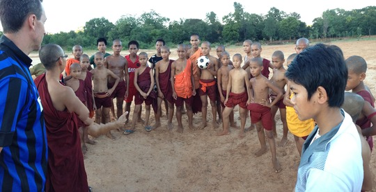 Soccer training with young Buddhist novice monks
