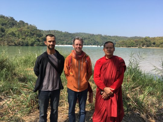 Design team with monk from Eastern Shan State