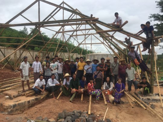 Building the bamboo training centre in dry zone