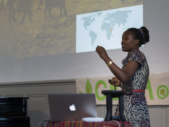Gloria presents her TED-style talk at GESA 2015