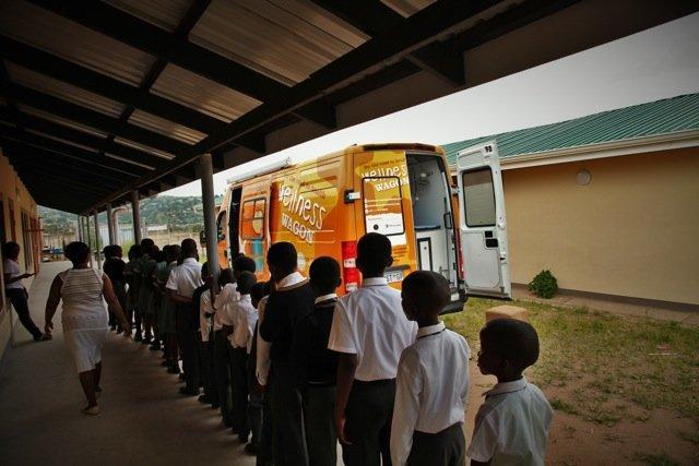School children waiting for their health checkups