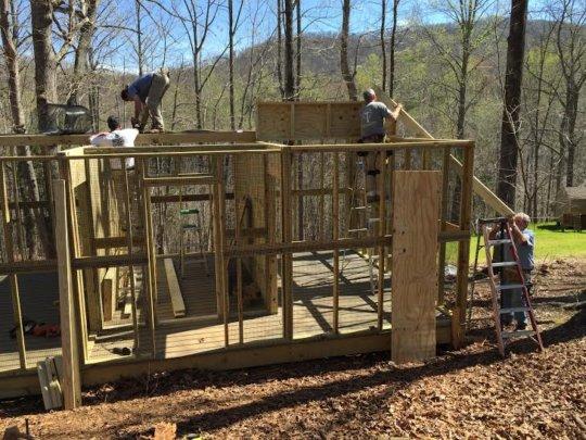 Building Goodness volunteers create new aviary.