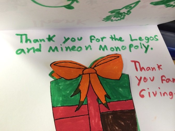 Thank you from a child at Canal Family Support