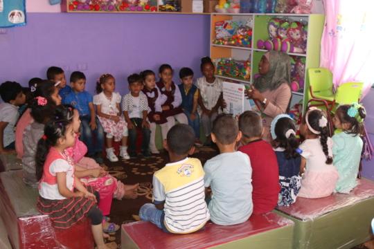 Story time at Msader Kindergarten in Gaza!