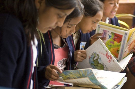 Girls in a reading Club in Guatemala