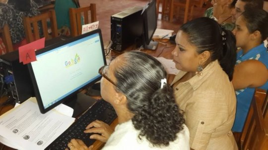 Women using technology