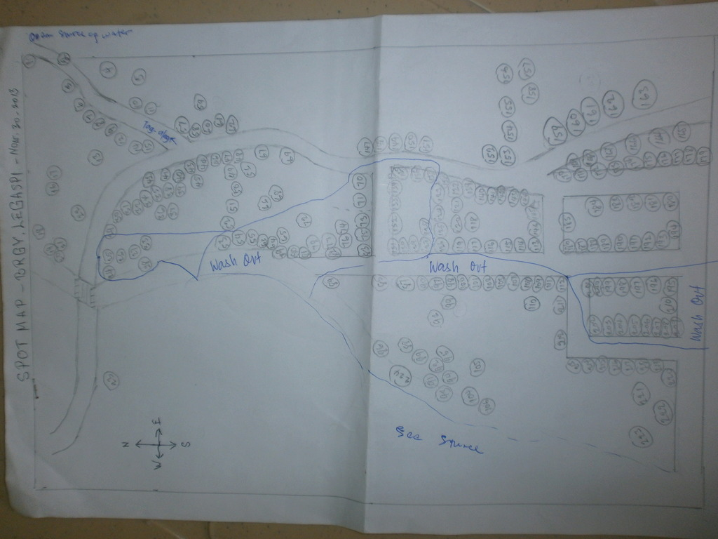 Spot map showing washed-out households in Samar