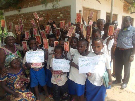 Luberizi students display math kits & gratitude