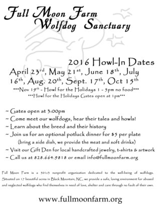 Our 2016 Howl In Schedule
