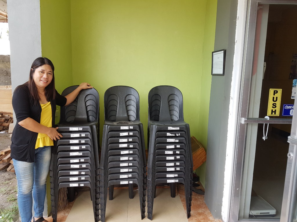 Chairs donated by volunteer Aurore and her friends