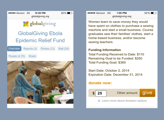 Updated project & donation pages as seen on mobile