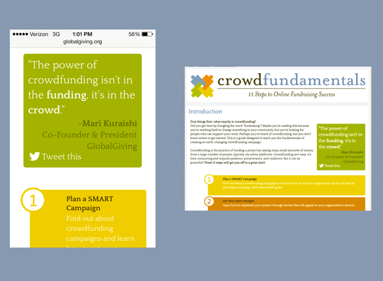 Crowdfundamentals on mobile (left) & desktop