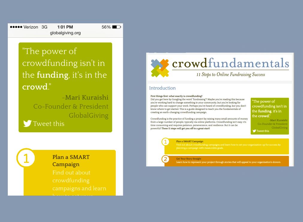 Crowdfundamentals on mobile (left) & desktop