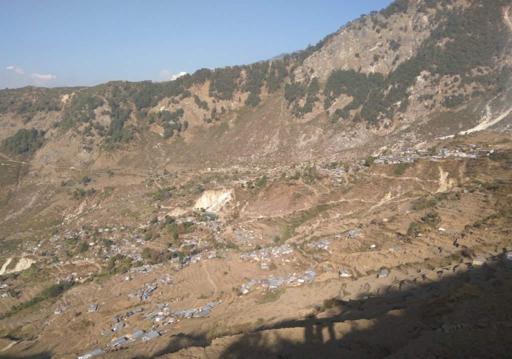 An aerial view of Keraunja Village, North Gorkha