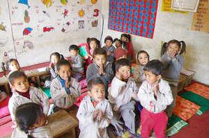 Kindergarten students in an improved classroom