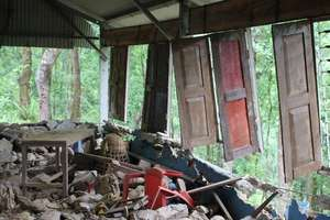 Destroyed classroom (photo by Mark Turin)