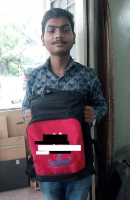 Abhimanyu collecting his school bag