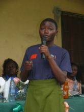 Student speaking at health clinic commissioning