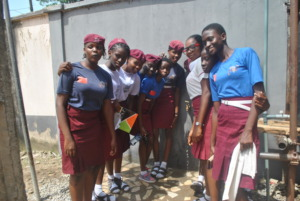 Students at bore-hole project site