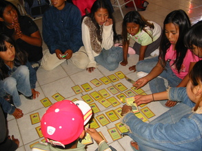 Seri children playing a memory game