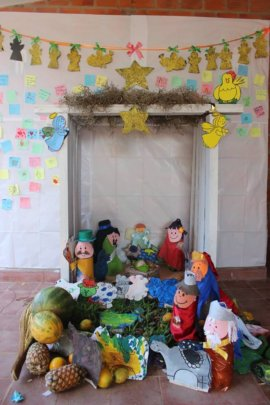 Christmas manger made with recycled bottles