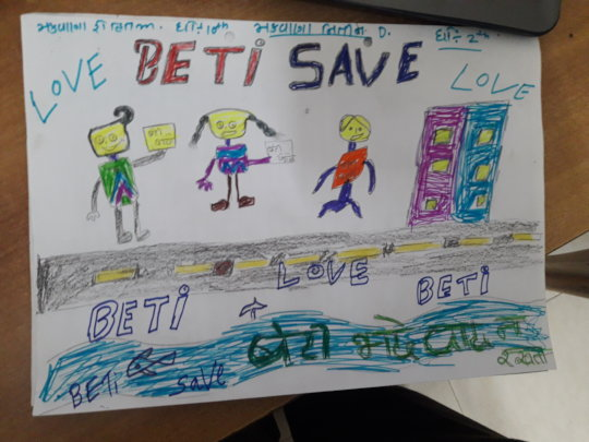 Poster made by children on Girl Child Education