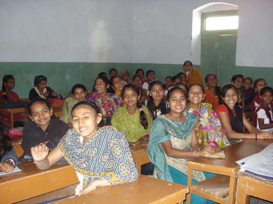 Girls eager to learn during Kishori Samelan!