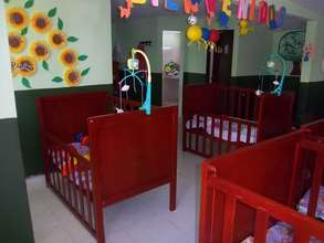 We like the nursery colorful and full of warmth