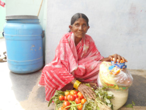 Poor Old Age Women getting Monthly Food Donations