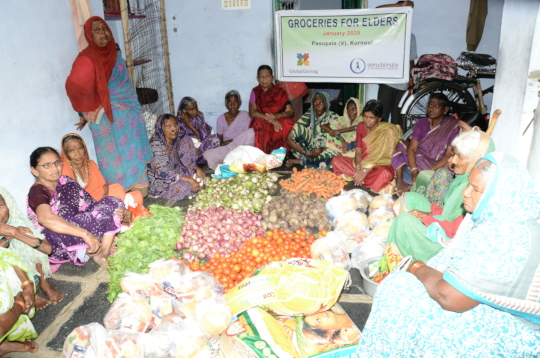 Food groceries donation to poor old age people