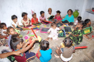 Children are happy at day care centers in india