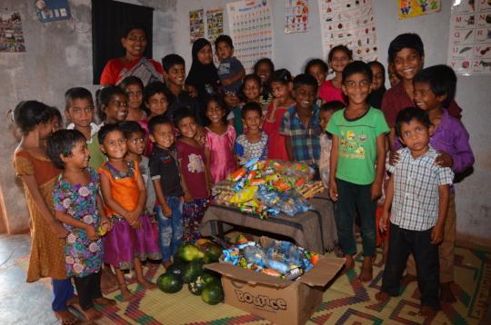 Poor children in creche snacks sponsorship by ngo