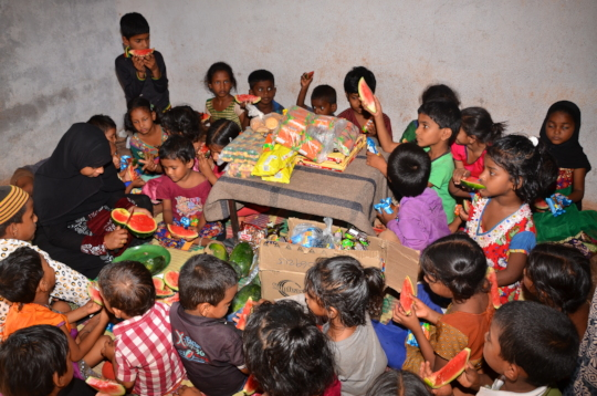 deprived children getting nutrition support by ngo