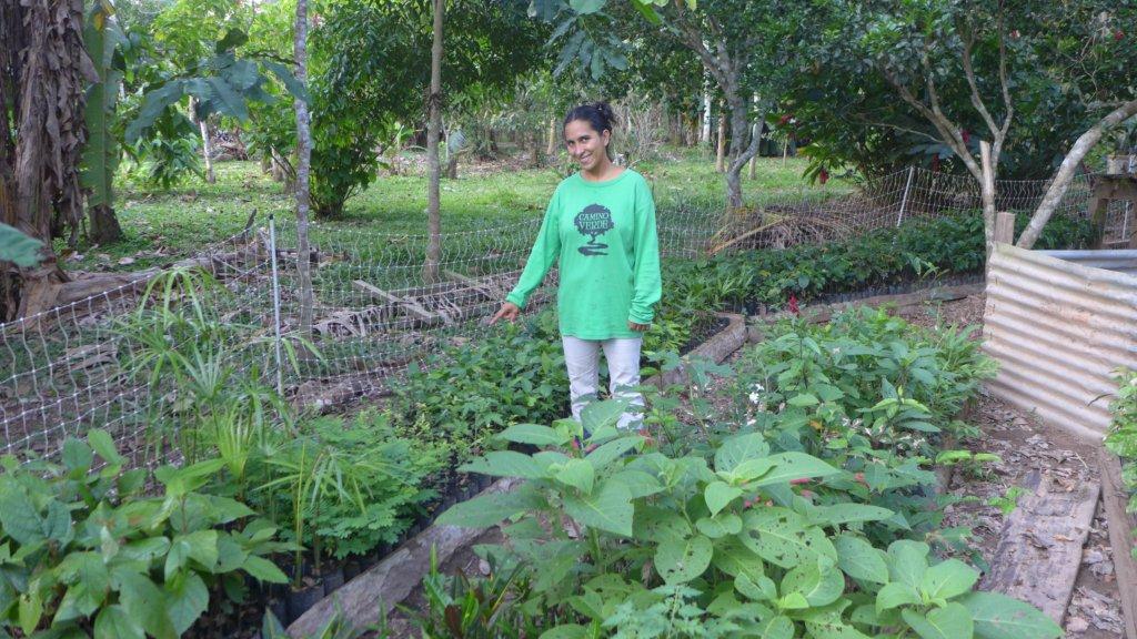 Olivia with seedlings