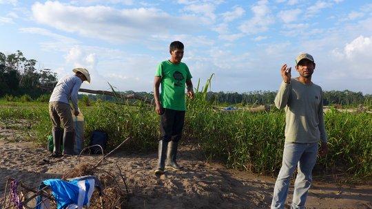 Camino Verde team members by the Tambopata River