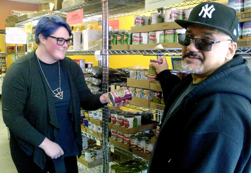Youth Worker and Pantry Customer Shopping