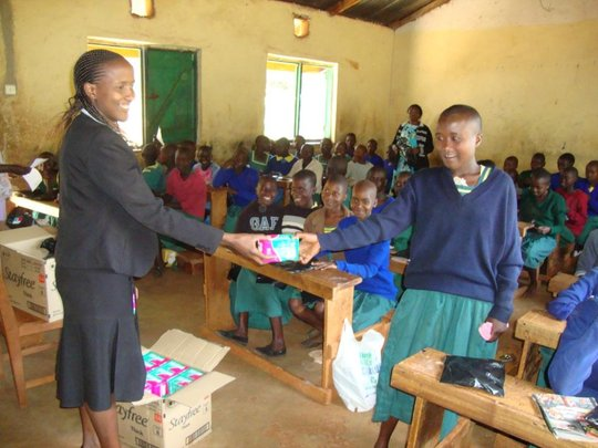 a girl receiving the pads