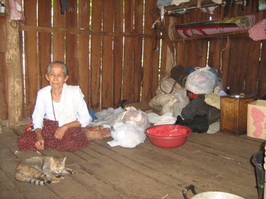 Elderly lady, her cat and few possessions.