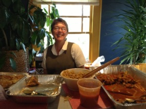 Pam, SR CFO, serves delicious Burmese food