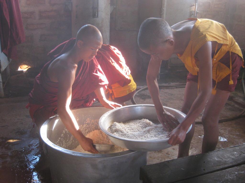 Novice monks prepare rice