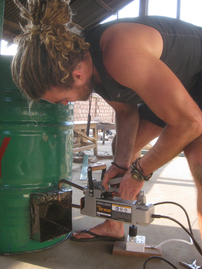 Hamish spot-welding the chamber to the drum