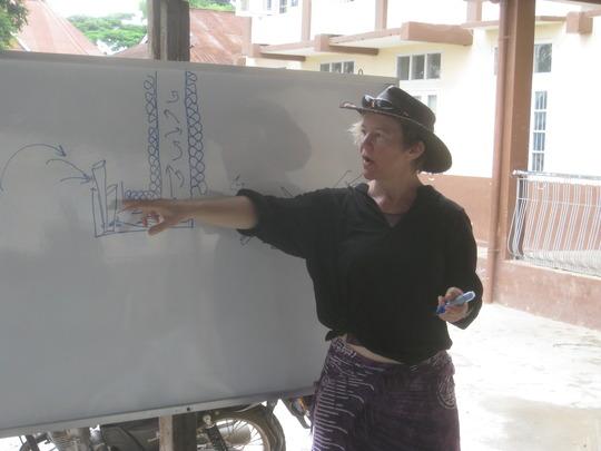 Leslie explains the principles of the Rocket Stove