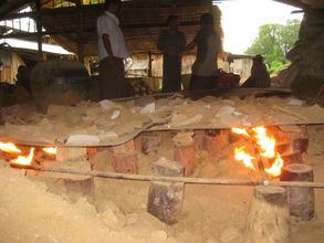 "Toasting broken pottery to make ""grog"""