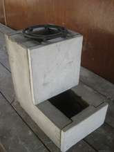 The clean lines of the cement/rice husk ash stove