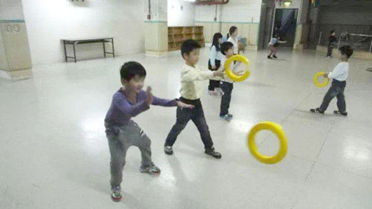 Playing with classmates