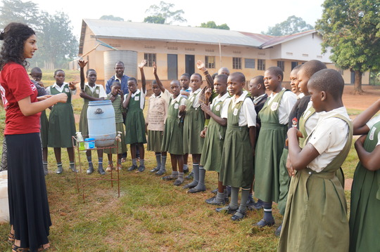Urmila giving a WASH lesson at Johnson Nkosi