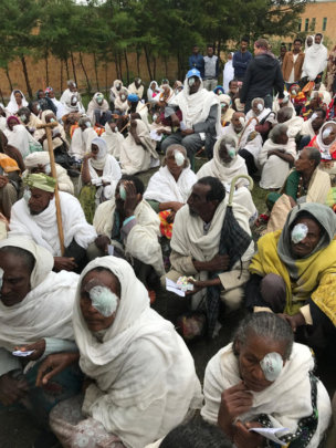 Patients waiting to have patches removed