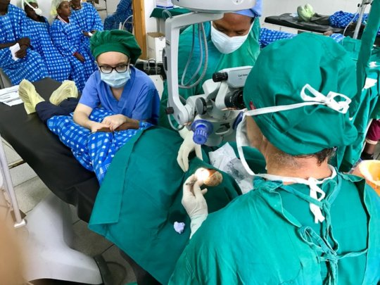 Patient undergoing cataract surgery