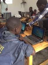 A student's first IT class in Rwanda
