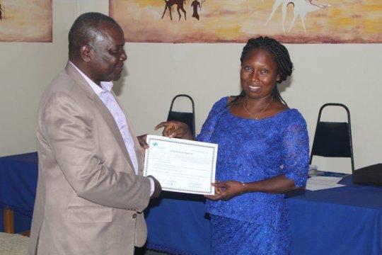 Course diploma handover for a teacher